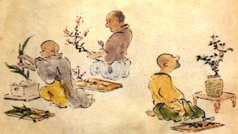 Illustrazione di uomini che praticano Ikebana