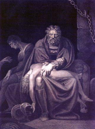 Fussli , Il conte Ugolino nella torre con i figli (1806) incisione. Zurigo, Kunsthaus