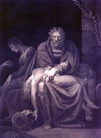 Fussli , Il conte Ugolino nella torre con i figli (1806) incisione. Zurigo, Kunsthaus(1)