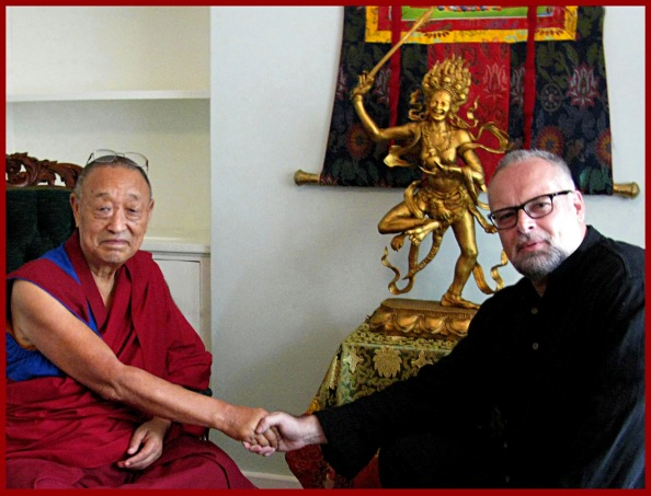 His Holiness 33rd Menri Trizin and William Rock with Yeshe Walmo Sculpture